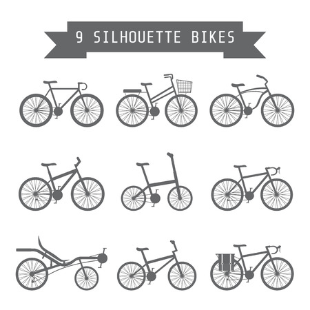 bicycle gear: set of silhouette bicycle, flat style