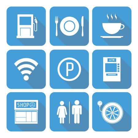 tiendas de comida: conjunto de icono de la estación de servicio con la sombra, estilo plano Vectores