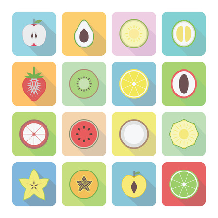 set of fruit icon with shadow, flat style Vector