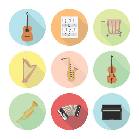set of classical musical instrument icon, flat style Vector