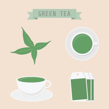 green tea: set of green tea icon, tea leaf