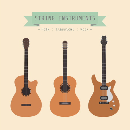 type of guitar, folk, classical, rock, flat style Vector