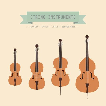 악기 문자열, 바이올린, 비올라, 첼로와 더블베이스, 플랫 스타일 일러스트