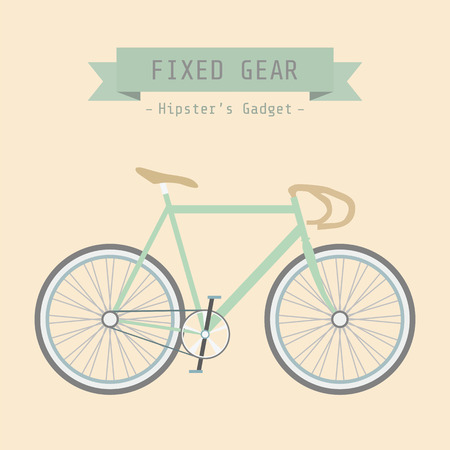 retro bicycle, no breaks, no gears, flat style Vector