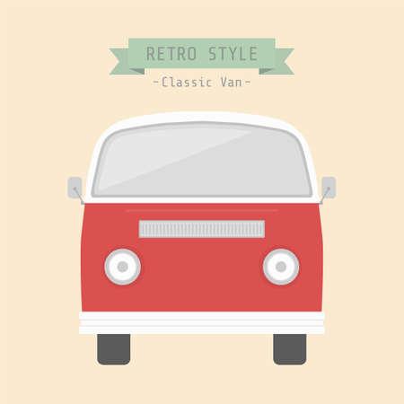 camper: classic van, retro style Illustration