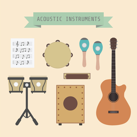 country music: set of unplug musical instrument and sign, flat style Illustration