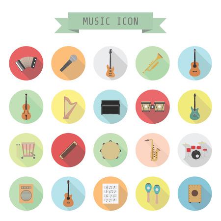 chiave di violino: set di icona della musica, rock, acoustic, musica classica, stile piatto
