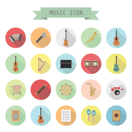 set of music icon, rock, acoustic, classical music, flat style Vector