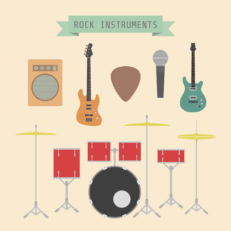 major: set of rock musical instrument and sign, flat style Illustration