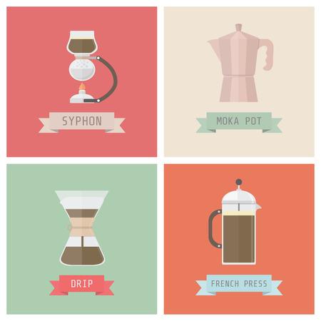 unplug coffee methods, syphon, moka pot, drip, french press, pastel style
