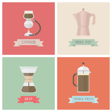 siphon: unplug coffee methods, syphon, moka pot, drip, french press, pastel style