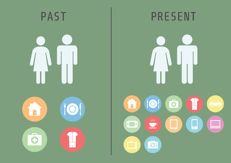 past to present, basic human needs is different, flat style Stock Illustratie