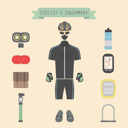 set of bicycle accessories, flat style Vector