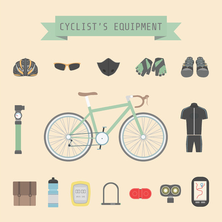 bicycle pump: set of bicycle accessories, flat style