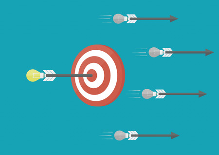 a good idea is  accuracy more than bad idea, business concept, flat style Vector