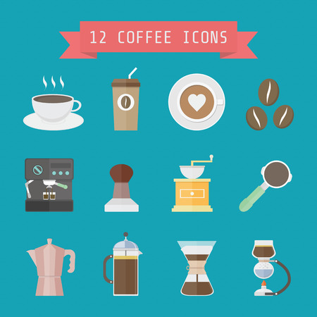 set of coffee and baristas equipment, flat style Vector