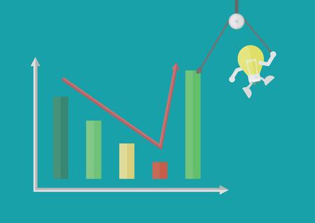 get up: lampadina tirare un grafico a barre arrivare pi� in alto, concetto di business