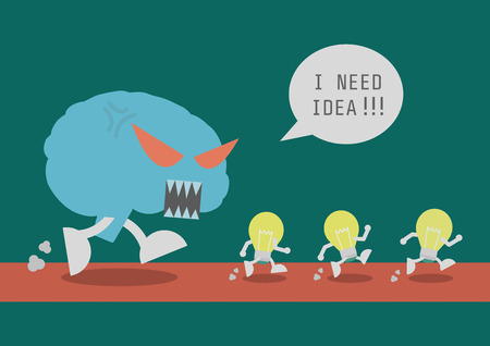 run away: the brain hunting idea Illustration