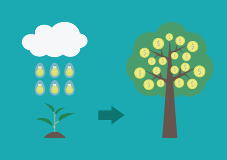 money rain: the rain of idea make a sprout become to wealth tree, business concept