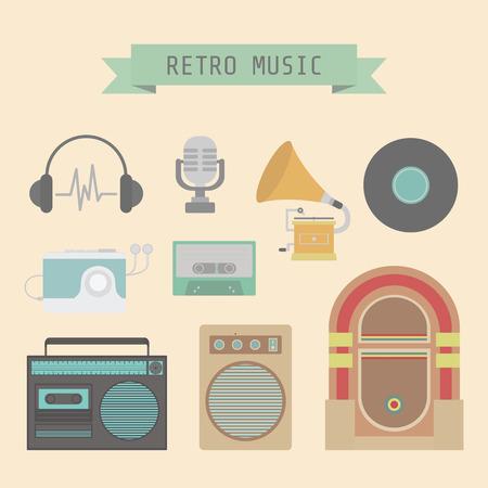 cd recorder: set of old style sound, flat style Illustration