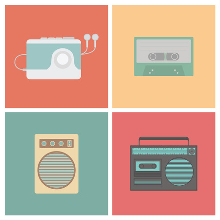 set of old style sound, flat style Vector