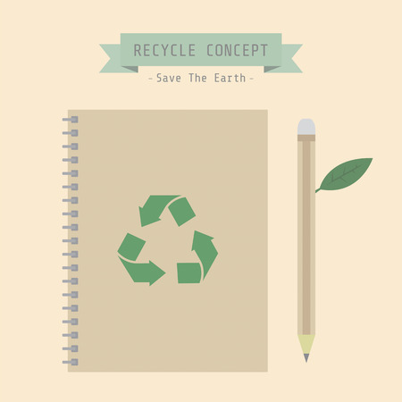 office environment: book and pencil, conservation concept, recycle, reuse, vector illustration