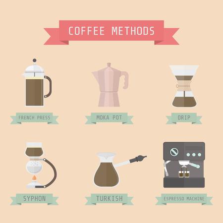 unplug: coffee methods, pastel style Illustration