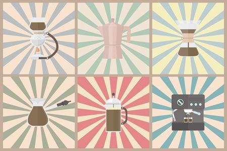 coffee methods, pastel style Illustration