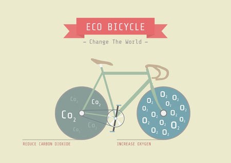 oxygen transport: eco bicycle, reduce carbon dioxide amd increase oxygen, eco concept, flat and pastel style