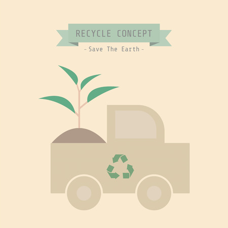 oxygen transport: recycle truck with sprout, eco concept