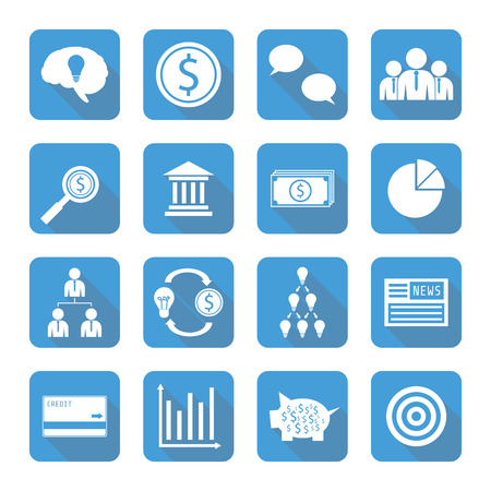 set of  financial icon with shadow, flat style Vector