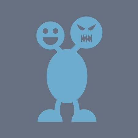 Paradoks: zaburzenie dwubiegunowe, zły i uśmiech emocji