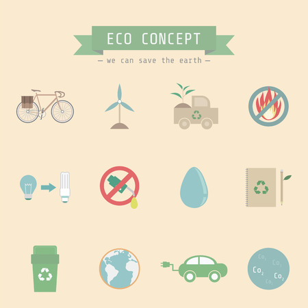 set of conservation icon, pastel Vector