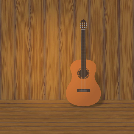 headstock: acoustic classical guitar with strings, vector illustration Illustration