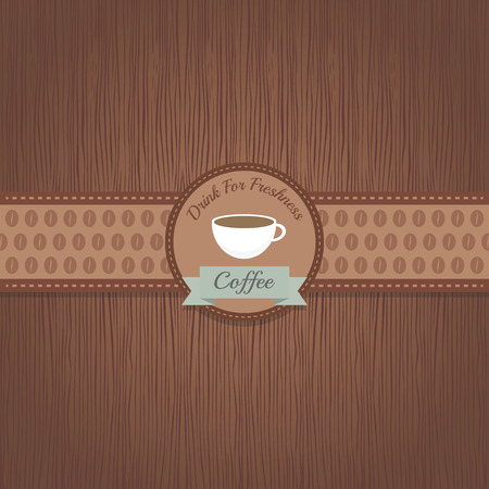 classic coffee label on wood pattern Vector