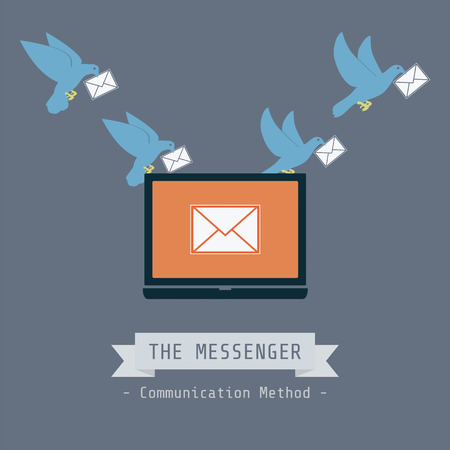 communication metaphor: communication concept, pigeon send data Illustration