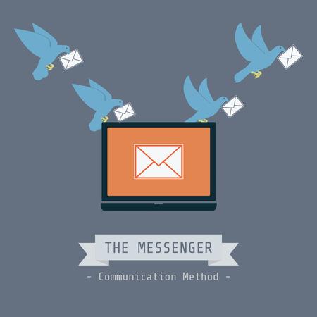 technology symbols metaphors: communication concept, pigeon send data Illustration