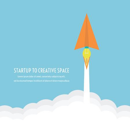 engine papieren vliegtuig is idee, kan starten om creatieve ruimte als een raket, denken concept, flatstyle
