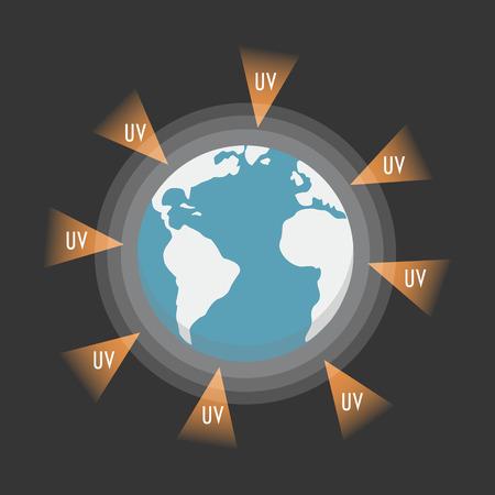radiacion: la tierra atacado de UV-Ray, estilo plano