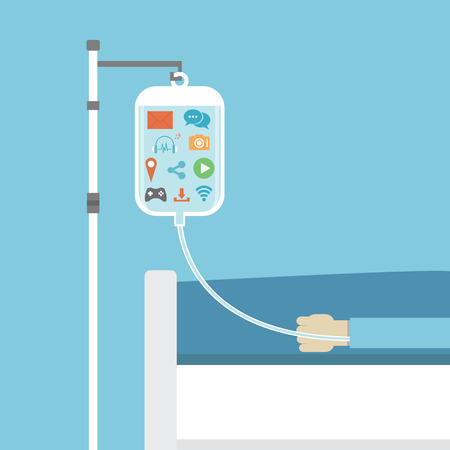 social addiction, patient on sick bed healed by social network, concept, flat style Vector