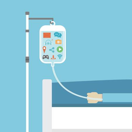 chory: uzależnienie społeczne, pacjent na łóżku chorego uzdrowiony przez sieci społecznej, koncepcja, styl mieszkania Ilustracja