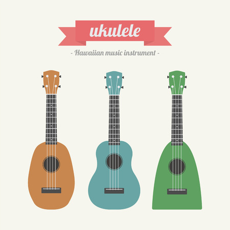 ukulele, hawaiian music instrument, pastel style Vector
