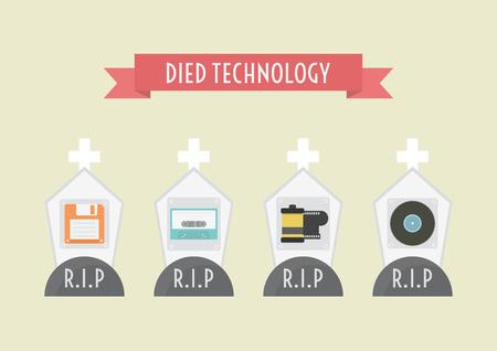 died technology, floppy disk, cassett tape, film, record Vector