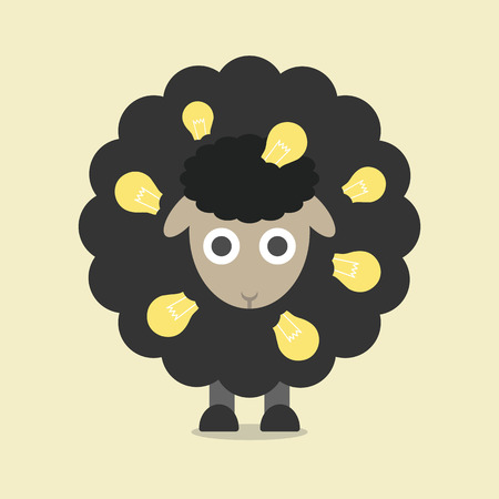 zwart schaap: creatieve zwarte schapen met gloeilamp, het denken concept, vlakke stijl