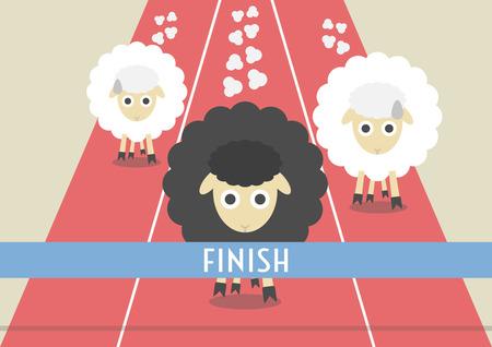 zwart schaap: concurrentie schapen. de meest krachtige zwarte schaap is winnaar, concurrerend concept, vlakke stijl