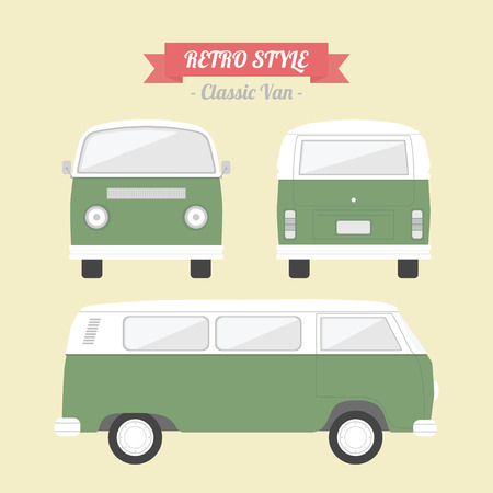 retro truck: classic van, retro style Illustration