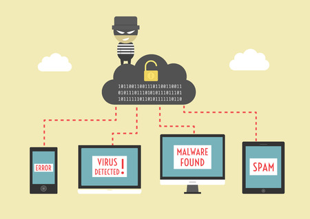 computer hacker: hacker send virus from cloud to your device, beware illegal server, vector illustration, flat style