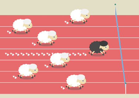racecourse: competition of sheep. the most powerful black sheep is winner, competitive concept, flat style
