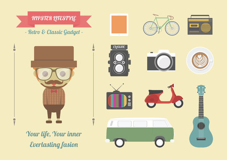 item: hipsters item, retro and classic gadget, pastel flat style Illustration