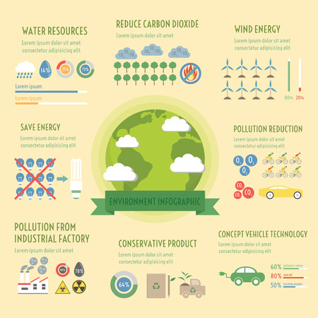 dioxido de carbono: elementos infográficos ambiente, concepto renovable, estilo plano Vectores